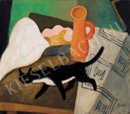 Berény, Róbert - Still-Life and a Cat, 1930