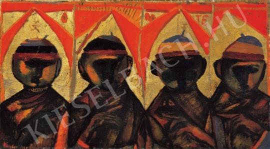 Kondor Béla - Négy szent (Orate, Imádkozó szerzetesek), 1961 festménye