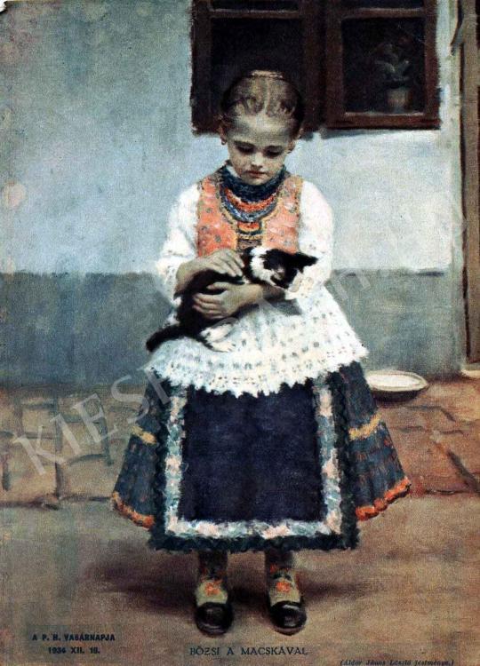 Áldor János László - Bözsi a macskával festménye
