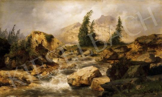 Zimmerman, Albert - Alpesi táj  zuhogó patakkal | 23. Aukció aukció / 29 tétel