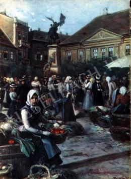 Bruck, Lajos - Weekly Fair at the Square in 1900