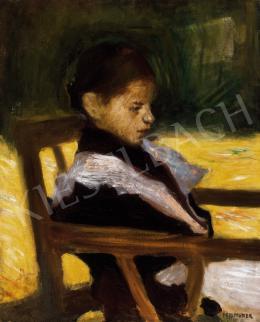 Perlmutter Izsák - Kislány napfényes kertben