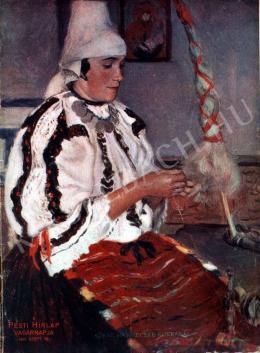 Glatz, Oszkár - Sokac Young Wife with a Spinning Wheel