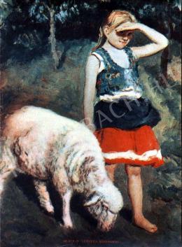 Glatz, Oszkár - Little Girl with a Lamb
