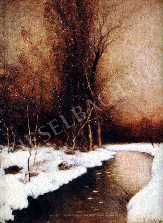 K. Spányi Béla - Havas táj festménye
