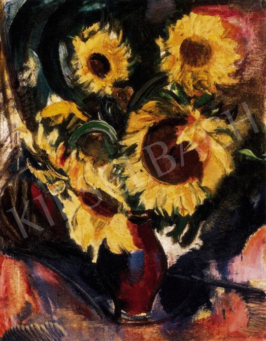 Márffy Ödön - Napraforgós csendélet (Napraforgók üvegvázában), 1930 | 23. Aukció aukció / 43 tétel