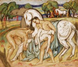 Kádár Béla - Jelenet lovakkal