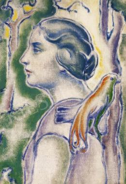 Pécsi-Pilch Dezső - Fiatal nő madárral