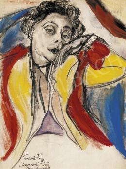 Frank Frigyes - Hölgy kék fotelben