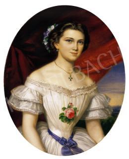 Barabás Henriette - Fiatal lány rózsával, 1858
