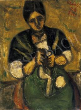 Czóbel Béla - Kézimunkázó nő, 1926