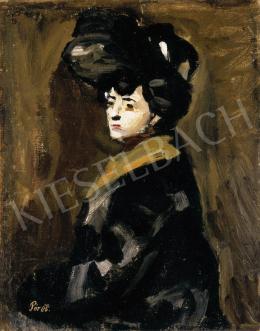 Pór Bertalan - Kalapos nő, 1905