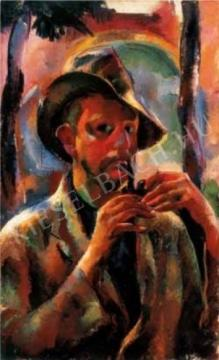 Aba-Novák, Vilmos - Self-Portrait with a Pipe, 1926 painting