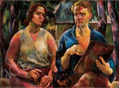 Aba-Novák, Vilmos - The Artist and his Wife (Double Portrait ), 1925 painting