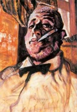 Scheiber, Hugó - Self-Portrait with a Cigar (Self-Portrait Wearing a Bow Tie), c. 1922