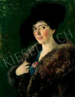 Glatz Oszkár - Kalapos nő rózsával