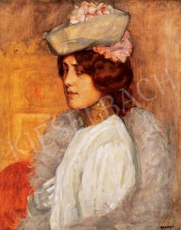 Kunffy, Lajos - Woman in a Hat