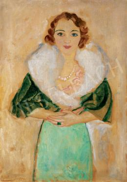 Frank, Frigyes - Woman with a Pearl Necklace