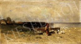 Mészöly Géza - Lányok vízparton libákkal