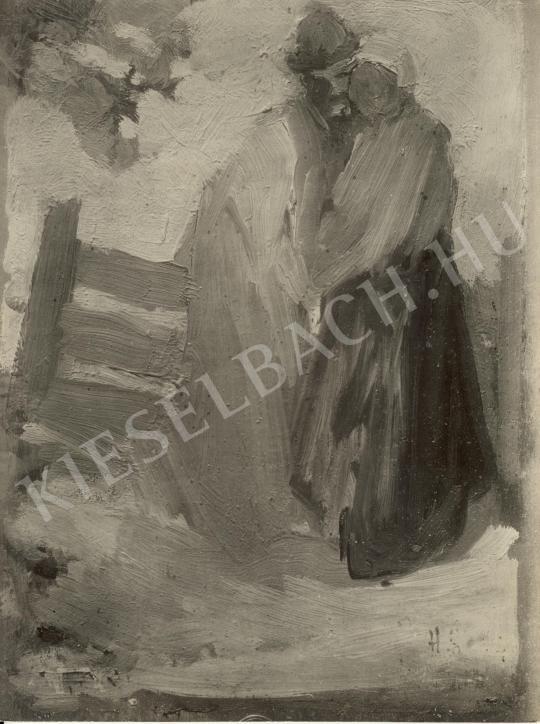 Ismeretlen festő - Férfi és nő kerítés előtt festménye