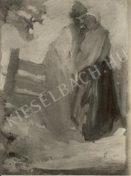 Ismeretlen festő - Férfi és nő kerítés előtt