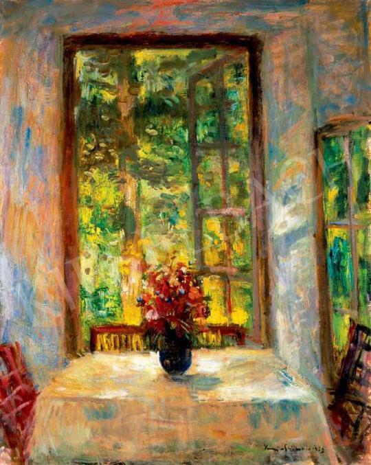 Iványi Grünwald Béla - Napsütötte veranda kerti csokorral | 29. Aukció aukció / 33 tétel