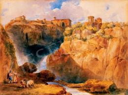 Barabás Miklós - Tivoli látképe szerelmespárral, 1835