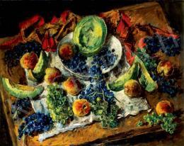 Basch Andor - Gyümölcscsendélet szőlővel és őszibarackkal