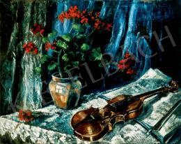 Schadl János - Csendélet hegedűvel kék háttérben