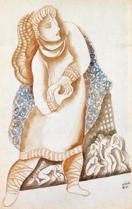 Kádár, Béla - Blue - Dressed Woman