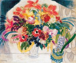 Vaszary János - Virágcsendélet ablakban (Nagy virágcsendélet) (1930 körül)