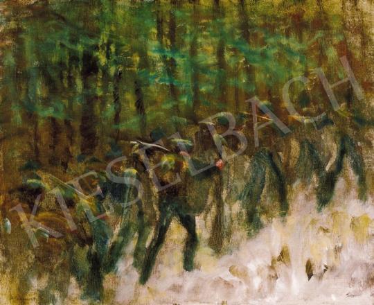 Mednyánszky László - Katonák téli erdőben (Vonuló katonák), 1914-18 | 20. Aukció aukció / 14 tétel