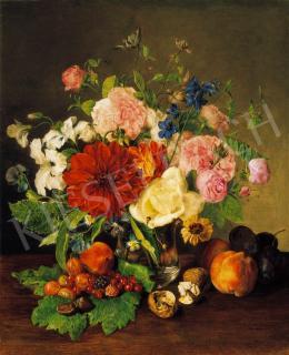 Ismeretlen osztrák festő, 1840 körül - Virágcsendélet gyümölcsökkel