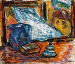 Ámos Imre - Szentendrei lámpás csendélet libbenő függönnyel