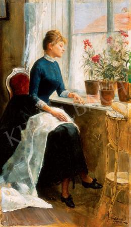 Jendrassik, Jenő - Young Lady with Flowers, 1889