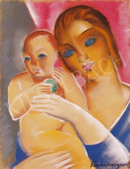 Schönberger Armand - Anya gyermekével | 20. Aukció aukció / 25 tétel