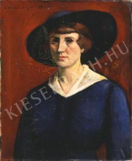 Czigány Dezső - Kalapos nő arcképe