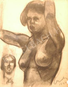 Czóbel Béla - Női félakt, tanulmány a múzsához
