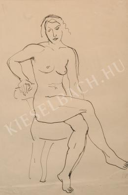 Kernstok Károly - Ülő női akt, jobb kezével a székre támaszkodva
