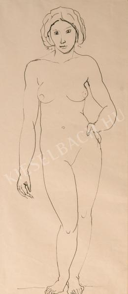Kernstok Károly - Álló női akt, bal keze csípőn