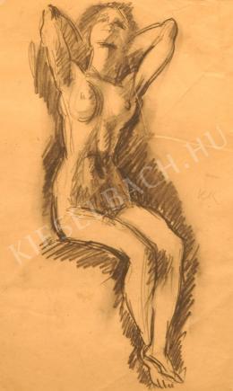 Kernstok Károly - Ülő női akt, nyakszirtre tett kezekkel