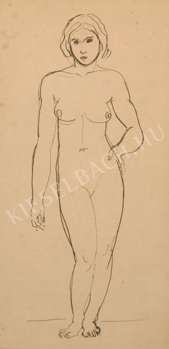 Kernstok Károly - Álló női akt, bal keze csípőn festménye