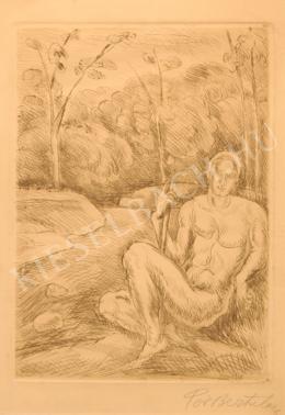 Pór Bertalan - Táj ülő férfi akttal
