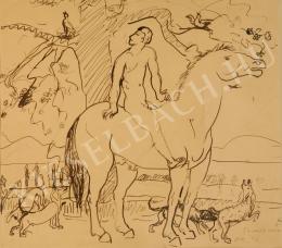 Kernstok Károly - Lovas-kompozíció, vázlat a Tavasz van című képhez