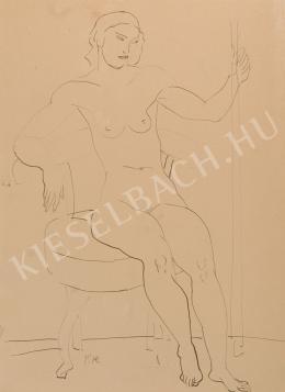Kernstok Károly - Párnázott széken ülő női akt