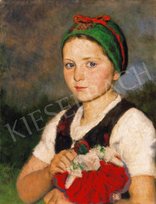 Glatz Oszkár - Kislány  babával | 20. Aukció aukció / 40 tétel