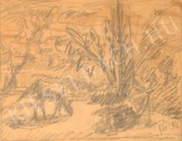 Pór Bertalan - Táj legelésző lóval