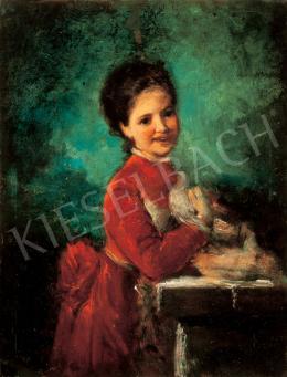 Kern Hermann - Piros bársonyruhás lány galambbal