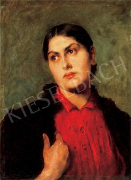 Deák-Ébner Lajos - Lány piros blúzban