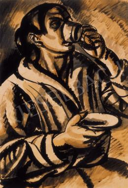 Uitz, Béla - Woman with a Cup of Coffee (Woman, Drinking), 1918